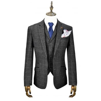 Cavani Draco 3 Piece Suits Check Tweed Regular Fit Blazer Grey Check