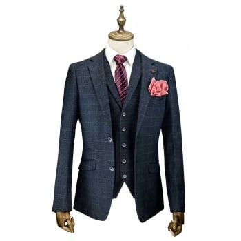 Cavani Draco 3 Piece Suits Check Tweed Regular Fit Blazer Navy Check