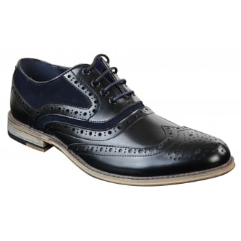 Cavani Ethan Real Leather Black Navy Gatesby Brogues Casual Designer Retro Shoes