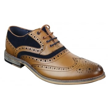 Cavani Ethan Real Leather Tan Navy Gatesby Brogues Casual Designer Retro Shoes