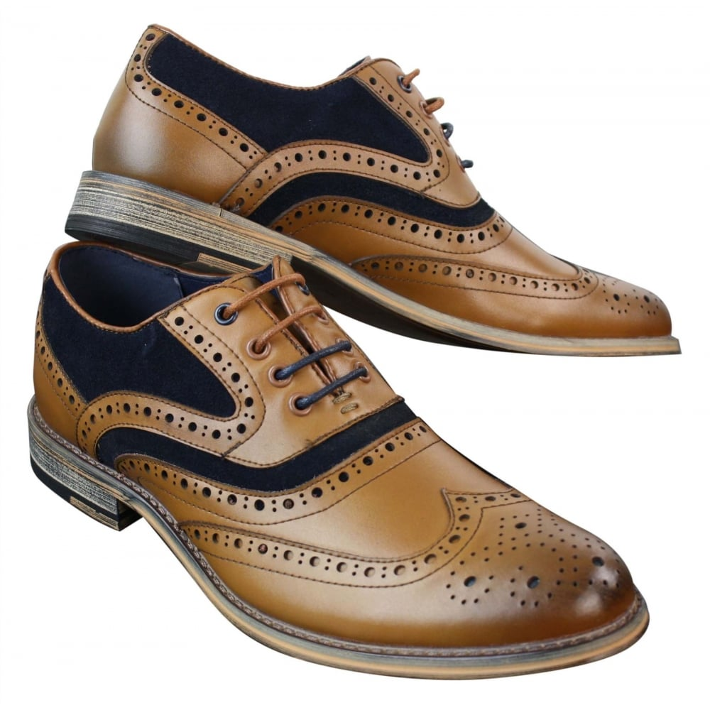 Cavani Ethan Real Leather Tan Navy Gatesby Brogues Casual
