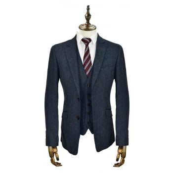 Cavani Kaos 3 Piece Suits Plain Tweed Regular Fit Blazer Navy