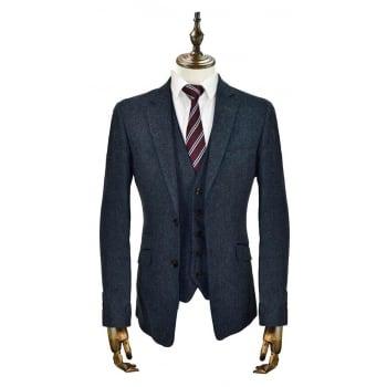 Cavani Kaos 3 Piece Suits Plain Tweed Regular Fit Blazer Navy