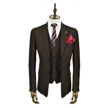 Cavani Kaos Mens 3 Piece Suits Plain Tweed Regular Fit Blazer Brown