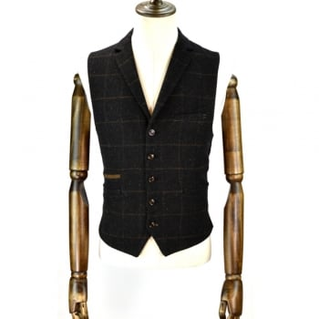 Cavani Kemson Mens Check Wool Mix Slim Fit Waistcoat Charcoal