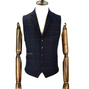 Cavani Kemson Mens Check Wool Mix Slim Fit Waistcoat Navy