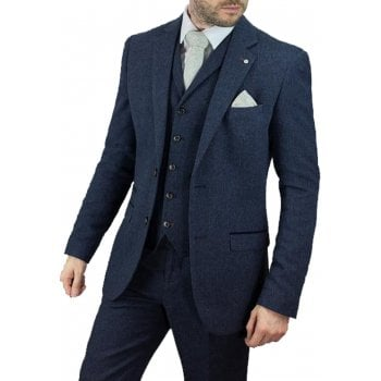 Cavani Martez 3 Piece Suits Herringbone Regular Fit Blazer Blue