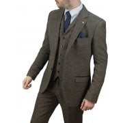 Cavani Martez 3 Piece Suits Herringbone Regular Fit Blazer Brown