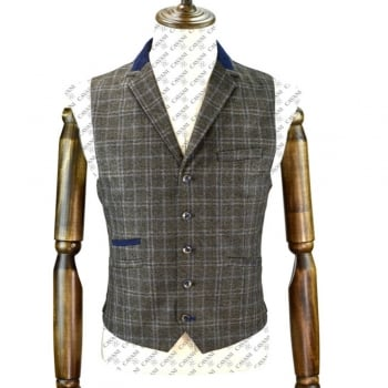 Cavani Masaki Mens Check Herringbone Slim Fit Waistcoat Brown