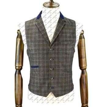 Cavani Masaki Mens Check Herringbone Slim Fit Waistcoat Brown