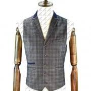 Cavani Masaki Mens Check Slim Fit Casual Waistcoat Grey
