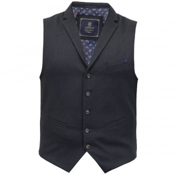 Cavani Mens Arabel New Plain Waistcoat Navy