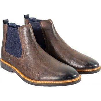Cavani Mens Arizona Ankle Faux Leather Chelsea Boots Rust