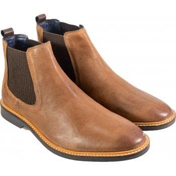Cavani Mens Arizona Ankle Faux Leather Chelsea Boots Tan