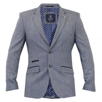 Cavani Mens Brera Plain Herringbone Tweed Blazer