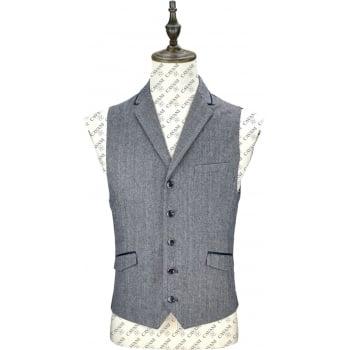 Cavani Mens Brera Plain Herringbone Tweed Waistcoat