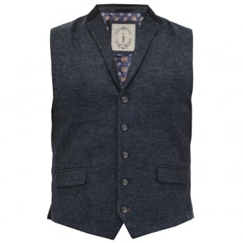 Cavani Mens Check Kalinka Vintage Smart Casual Waistcoat Navy