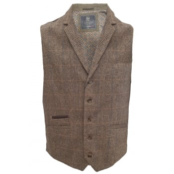 Cavani Mens Check Miles Herringbone Slim Fit Waistcoat Brown
