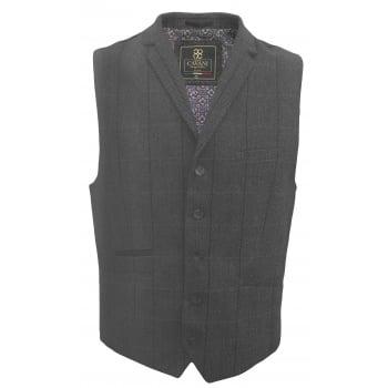 Cavani Mens Check Miles Herringbone Slim Fit Waistcoat Grey