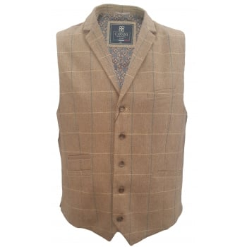 Cavani Mens Check Miles Herringbone Slim Fit Waistcoat Tan