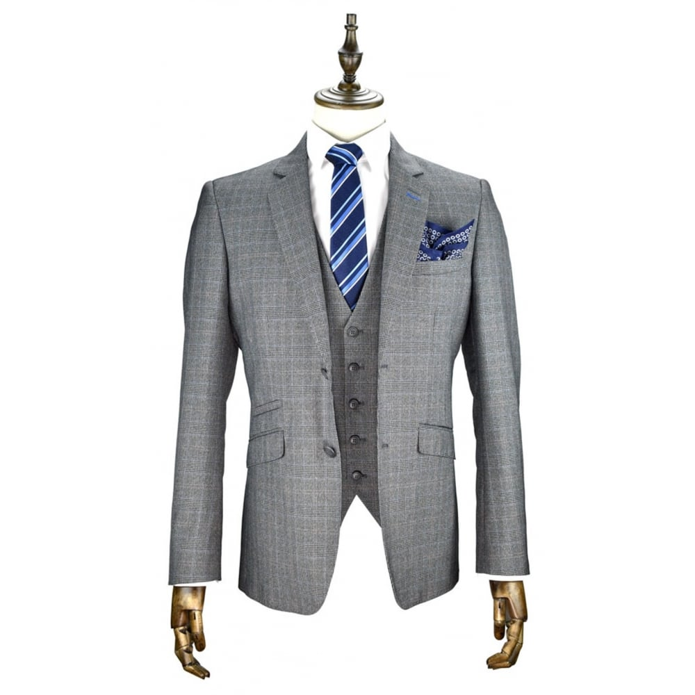 Cavani Mens Edan 3 Piece Tweed Suit Grey Check Party Prom Wedding