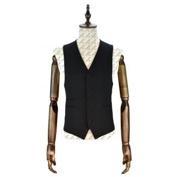 Cavani Mens Felix Plain Black Casual Waistcoat