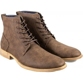 Cavani Mens Hurricane Lace Up Peaky Blinders Ankle Faux Leather Look Boots Brown