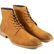 Cavani Mens Hurricane Lace Up Peaky Blinders Ankle Faux Leather Look Boots Tan