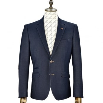 Cavani Mens Konan Suede Elbow Patches Blazer Navy