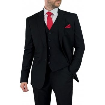 Cavani Mens Marco Suit Black 3 Piece Work, Wedding or Party Suit BNWT