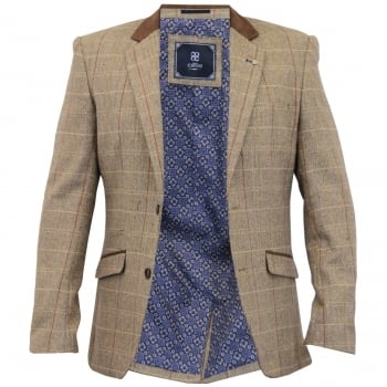 Cavani Mens New Baron Tweed Regular Fit Blazer Tan Check