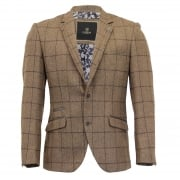 Cavani Mens New Designer Sergio Tweed Regular Fit Blazer Brown Check