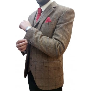 Cavani Mens New Designer Sergio Tweed Regular Fit Blazer Brown Check