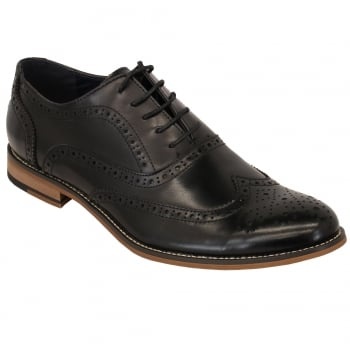 Cavani Oxford Real Leather Black Gatesby Brogues Casual Designer Retro Shoes
