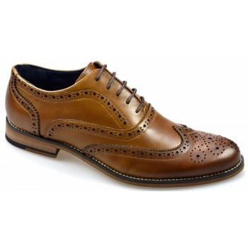 Cavani Oxford Real Leather Tan Gatesby Brogues Casual Designer Retro Shoes