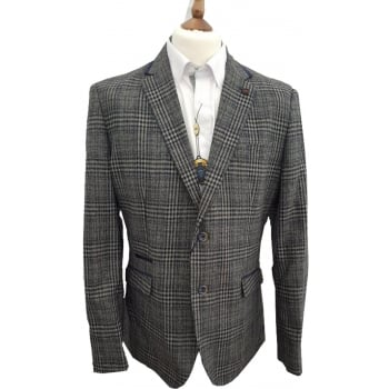 Cavani Walter Mens Check Herringbone Tweed Regular Fit Blazer Grey