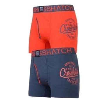 Crosshatch 2 Pack Brookster Branded Designer Boxer Trunks Underwear Red/Navy