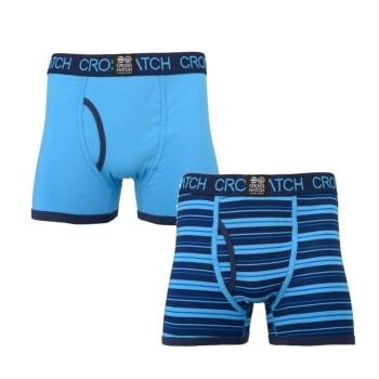 Crosshatch 2 Pack Deckster Branded Designer Boxer Trunks Underwear Blue
