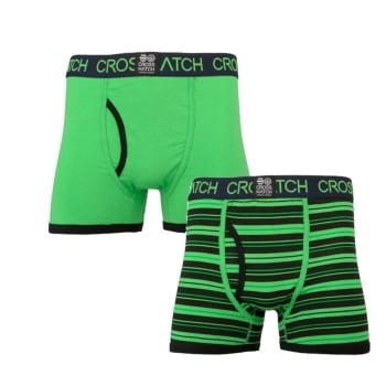 Crosshatch 2 Pack Deckster Branded Designer Boxer Trunks Underwear Green