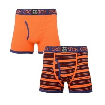 Crosshatch 2 Pack Deckster Branded Designer Boxer Trunks Underwear Red