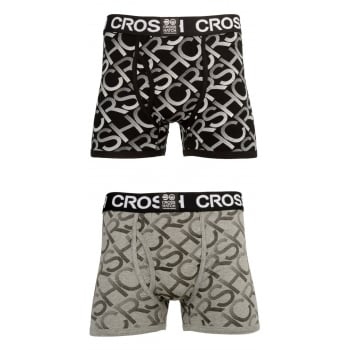 Crosshatch 2 Pack Equalizer Branded Designer Boxer Trunks Underwear Black
