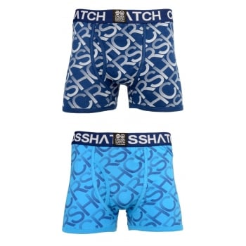 Crosshatch 2 Pack Equalizer Branded Designer Boxer Trunks Underwear Estate Blue