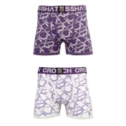 Crosshatch 2 Pack Equalizer Branded Designer Boxer Trunks Underwear Purple Rain