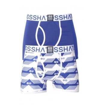 Crosshatch 2 Pack Pyramid2  Designer Boxer Trunks Underwear Azure Blue