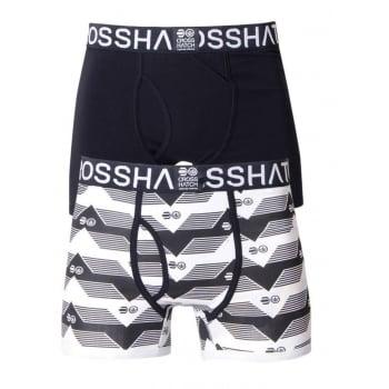 Crosshatch 2 Pack Pyramid2  Designer Boxer Trunks Underwear Black