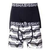 Crosshatch 2 Pack Pyramid2  Designer Boxer Trunks Underwear Black