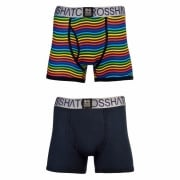 Crosshatch 2 Pack Spectromic Striped Designer Boxer Trunks Underwear Navy