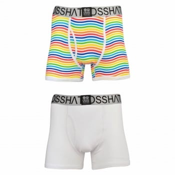 Crosshatch 2 Pack Spectromic Striped Designer Boxer Trunks Underwear White