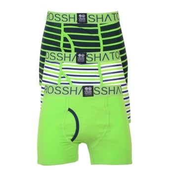 Crosshatch 3 Pack Allsync 2 Striped Designer Boxer Trunks Underwear Jasmine Mood