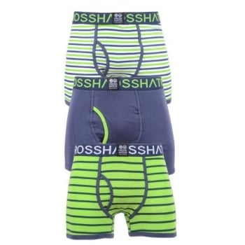 Crosshatch 3 Pack Allsync Striped Designer Boxer Trunks Underwear Jasmine Green